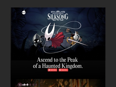 Silksong Landing Page (Unofficial) website web steam nintendo gaming hollow knight videogames landing page webdesign