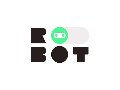 Robot Logo techy robot neon logotype type typography switch logo