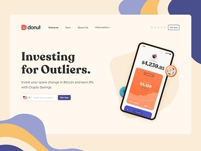 Donut serif crypto app mobile ui plasticine webdesign website