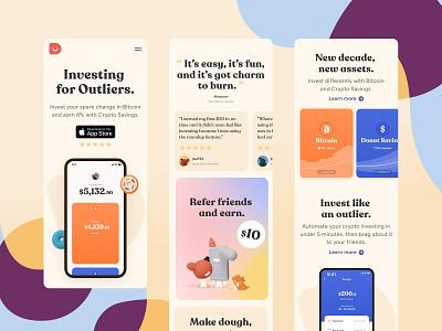 Donut Mobile app investment crypto mobile app mobile webdesign web