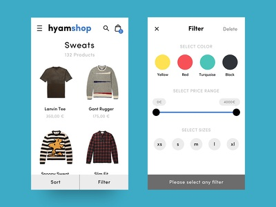 Ecommerce Filter listing plp cart shopping product list shop selector price range color fashion filter ecommerce