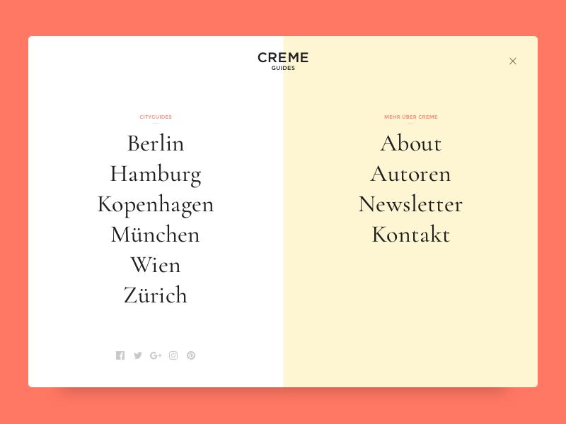 Creme Guides Navigation Concept web ux ui typography split screen magazine navigation lifestyle fashion travel guides editorial