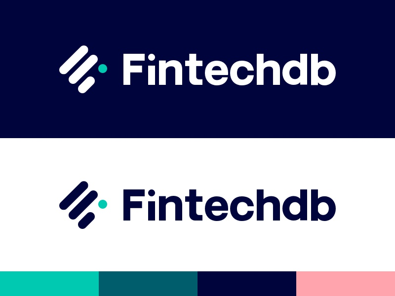 Fintechdb Brand geometrical minimal database branding startup fintech brand logo