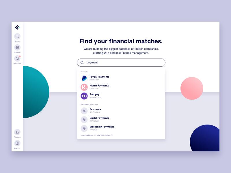 Fintechdb Search app fintech dashboard product database ux ui elastic search