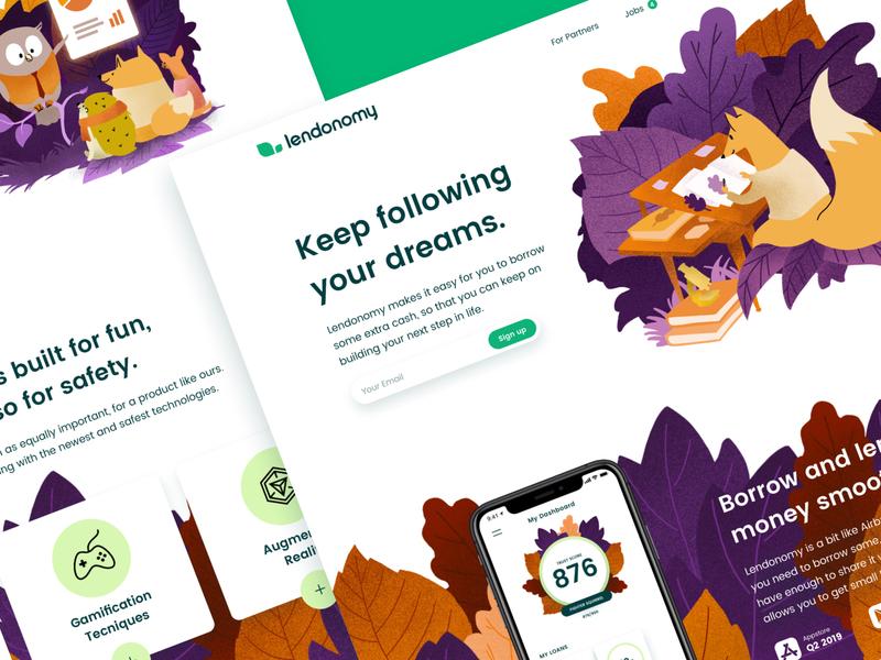 Lendonomy Landing Page brand mobile desktop branding illustration ux ui appdesign webdesign landing