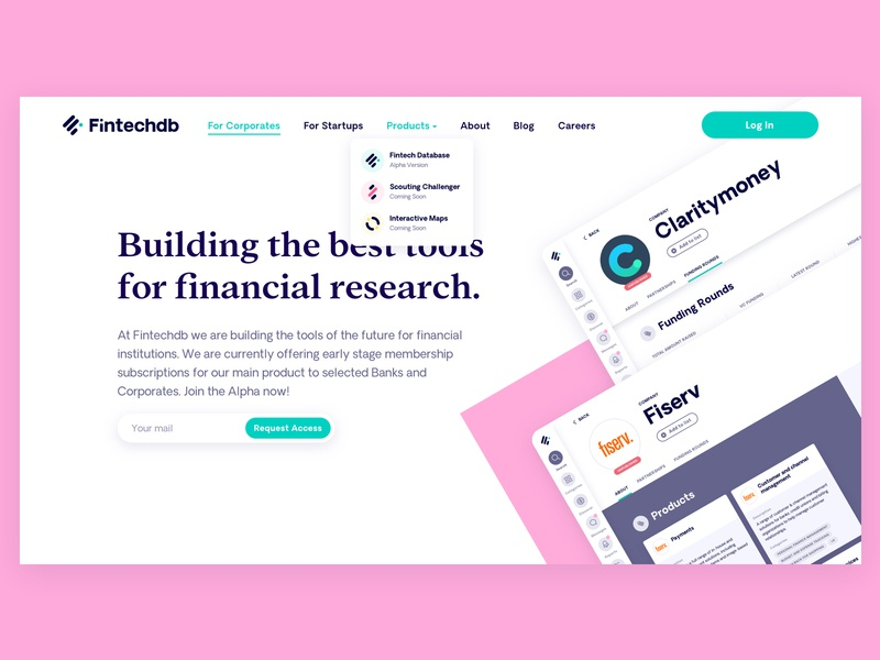 Fintechdb Redesign branding startup fintech landingpage shapes colorful product marketing ux ui web