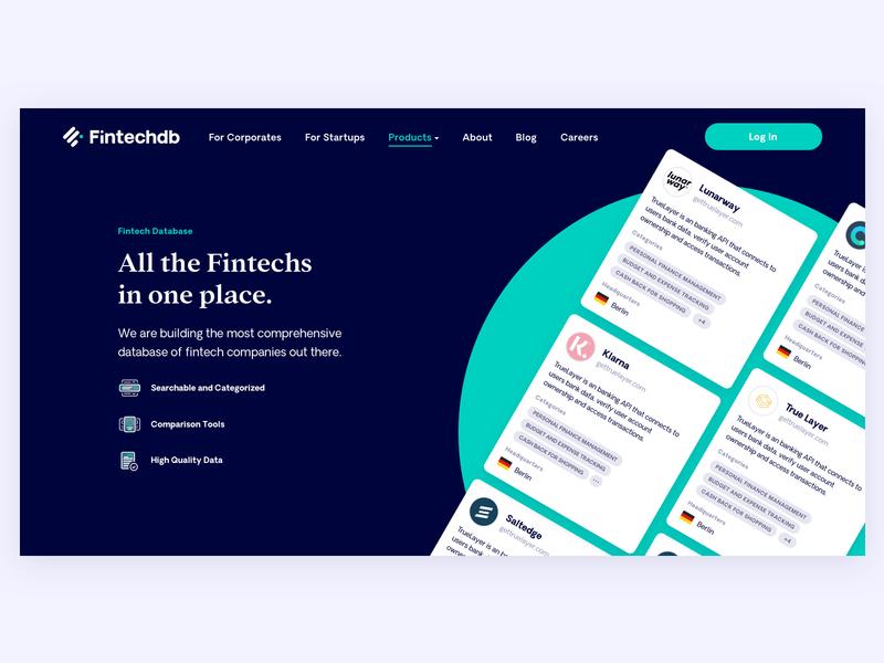 Fintechdb Landing branding startup fintech landingpage shapes colorful product marketing ux ui web