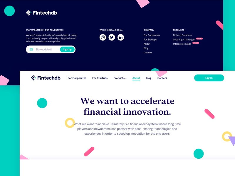 Fintechdb Landing Redesign branding startup fintech landingpage shapes colorful product marketing ux ui web