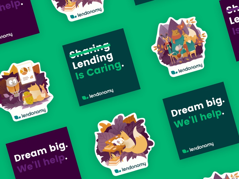 Lendonomy Stickers print marketing startup fintech identity stickers illustration branding brand