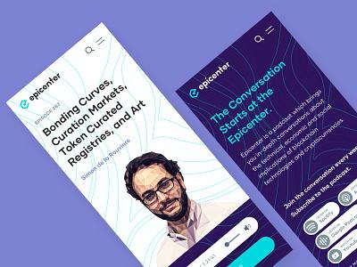 Epicenter Mobile bold app responsive logo brand blockchain waves webdesign branding mobile ui