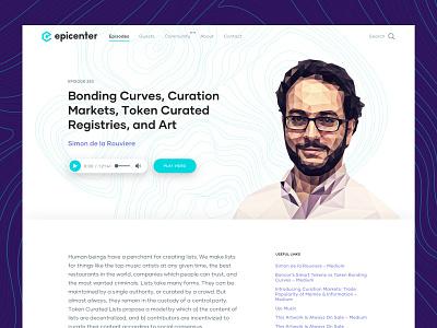 Epicenter Episode Page polygon nerd techy waves branding desktop ux ui blockchain podcast