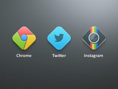 Dicons ♦ icons chrome twitter instagram camera bird diamonds shape concept flat ios iphone