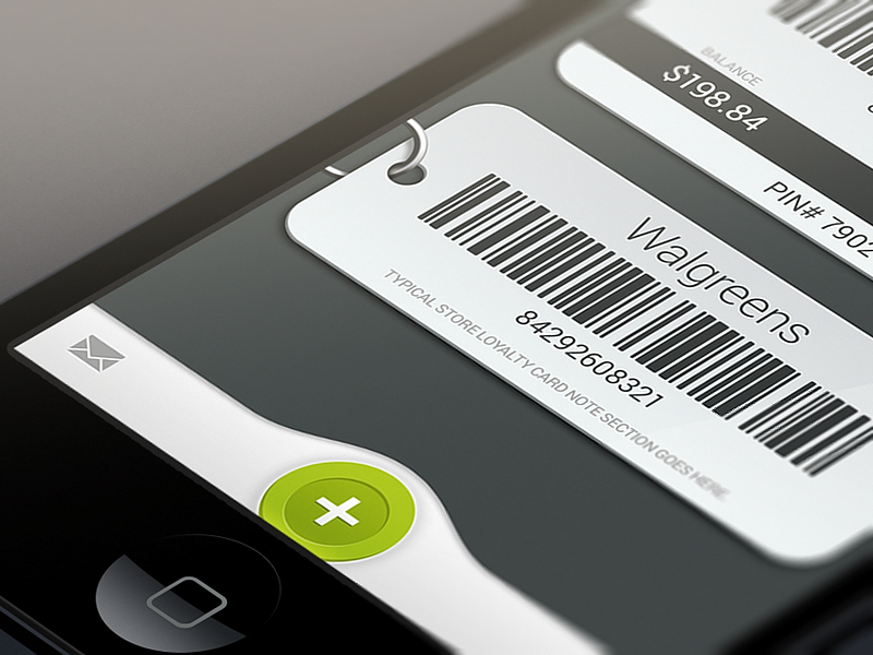 GK Cards app iphone android ios design ui ux cards strore rewards gift ring add balance pin barcode mail edit mockup shopping