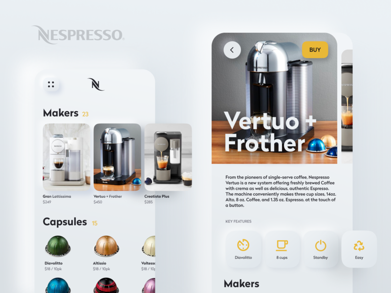Nespresso Light neumorphic neumorphism 2020 trend unfold website responsive application app ui pods maker caffine light nespresso coffee