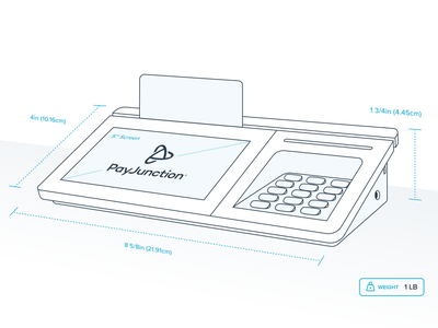 PayJunction Specs money transfer money processing payment pos unfold app website web outline brand logo payjunction specification specs drawing line