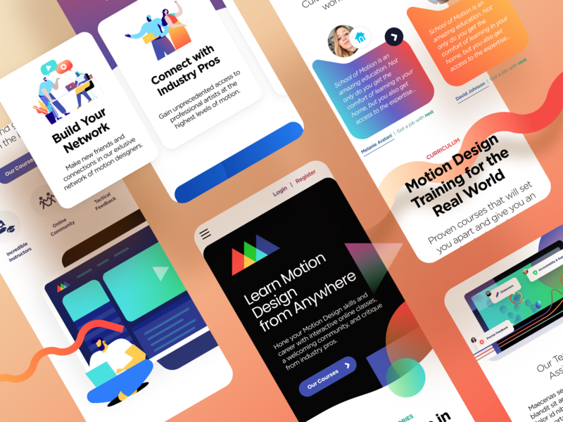 SOM Mobile ui branding illustration unfold agency mobile responsive trendy fun colorful illustrations icons website design website animation motion design schoolofmotion