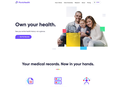 PicnicHealth Website medcross brand branding colorful homepage timeline arrow animation hero landing website healthcare family privacy history data documents medical health picnichealth