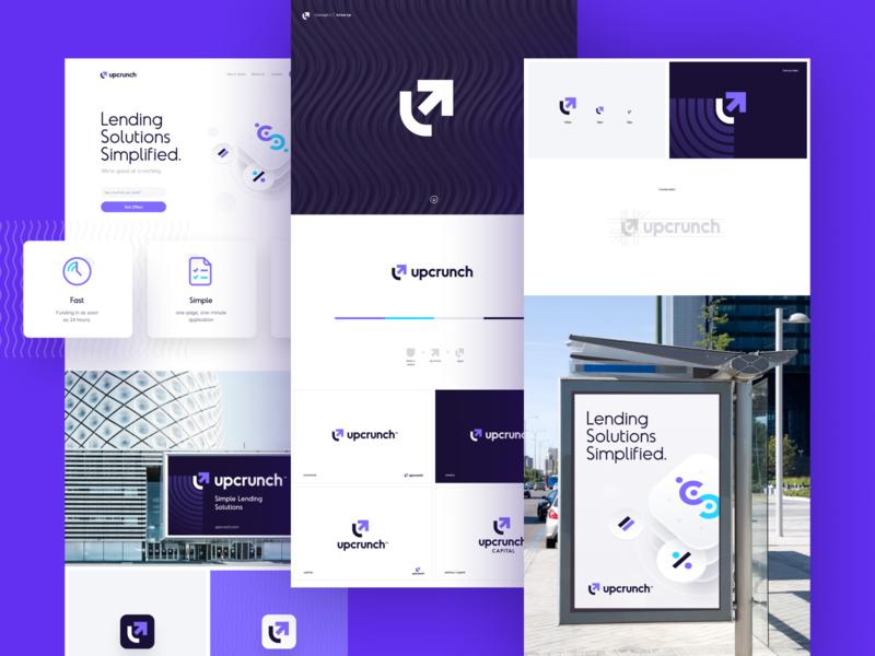 Upcrunch Brand unfold illustration design typography website logo arrow send lender loan money financial upcrunch package branding brand