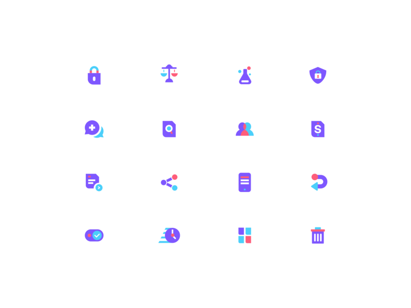 Picnic Icons design icons pack documents picnichealth clock scale purple agency unfold chat app hospital shield lock set kit iconset medical icons