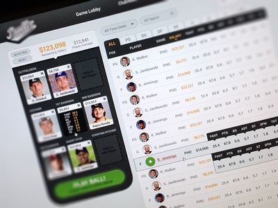 BR Lineup sports fantasy lineup draft team players table ui ux web website app stats playball baseball