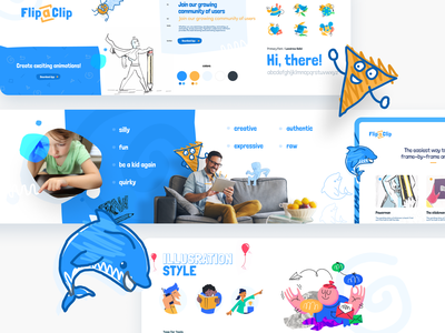 Flippaclip Stylescape illustration unfold art kids draw drawing design silly fun treatment logo branding concept direction moodboard stylescape