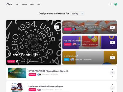 Rora Weekly + sort design tools learn branding 101 tricks tips illustration product unfold community rora app website feed newsfeed trends designer news