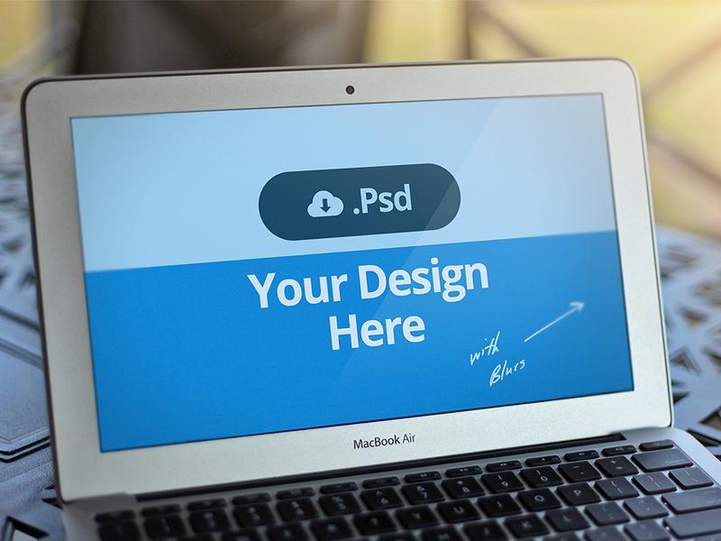 Macbook Template PSD - FREE macbook template air photoshop render mockup presentation ios freebie download flat psd