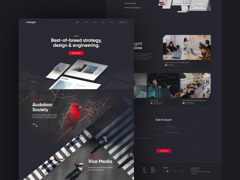 Postlight Web unfold black red agency design portfolio ux ui logo branding light postlight landing website
