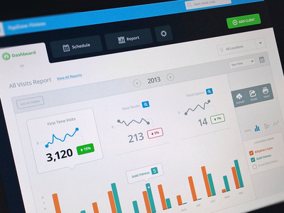 MB Dashboard dashboard website app graph bar activity overview table sort gym fitness report