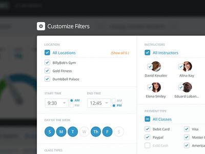 MB Filter web app website filter customize sort advanced week time dashboard overview
