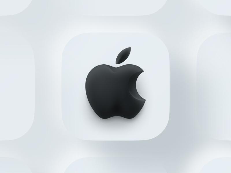 Apple not flat app illustration website bite branding soft 3d iconset icons big sur figma shadow lighting neuomorphic skeuomorphic ios14 ios 3d logo apple