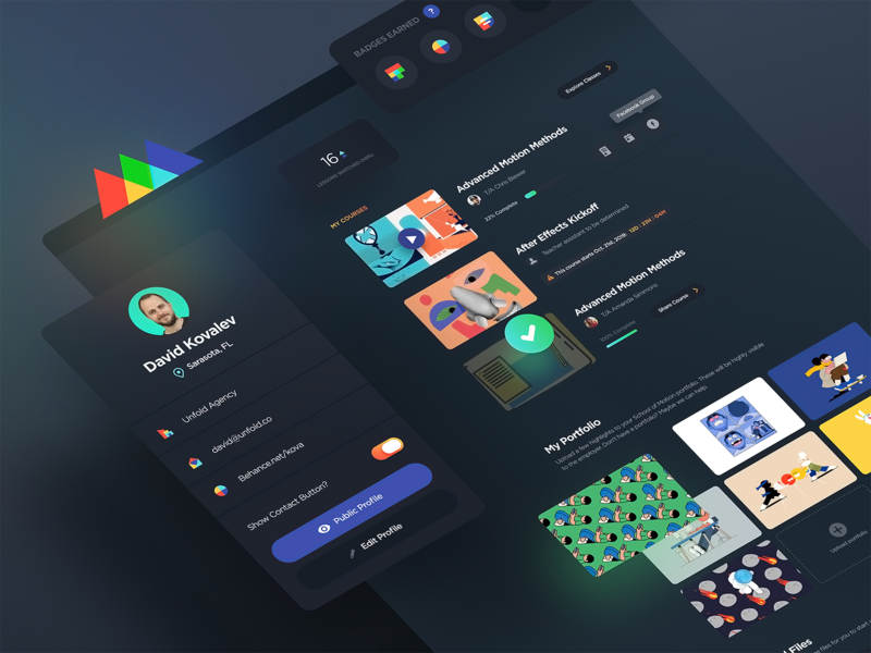 SOM Dash ux agency unfold player classes courses profile colorful darkmode kit dashboard ui learning video tutorial animation dashboard