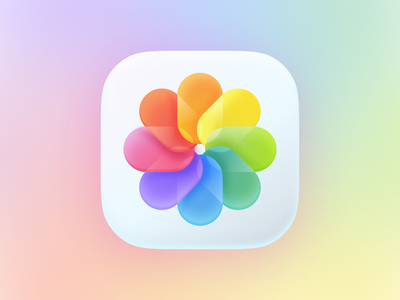 Photos not flat logo branding agency unfold neuomorphism neuomorphic skeumorphism skeumorphic 3d soft soft3d fun flower colorful photo photos iconset icons icon apple