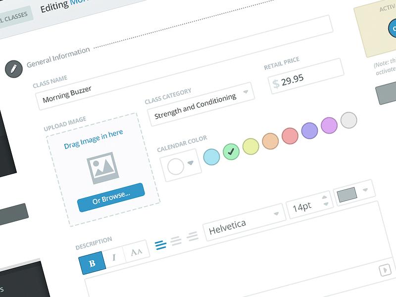 MB Class Edit font calendar color picker fitness dashboard text edit web app