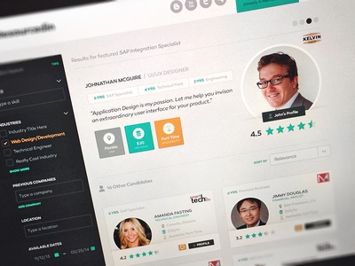 RI Results candidate job hire sort filter rating slider tags search web design results profile