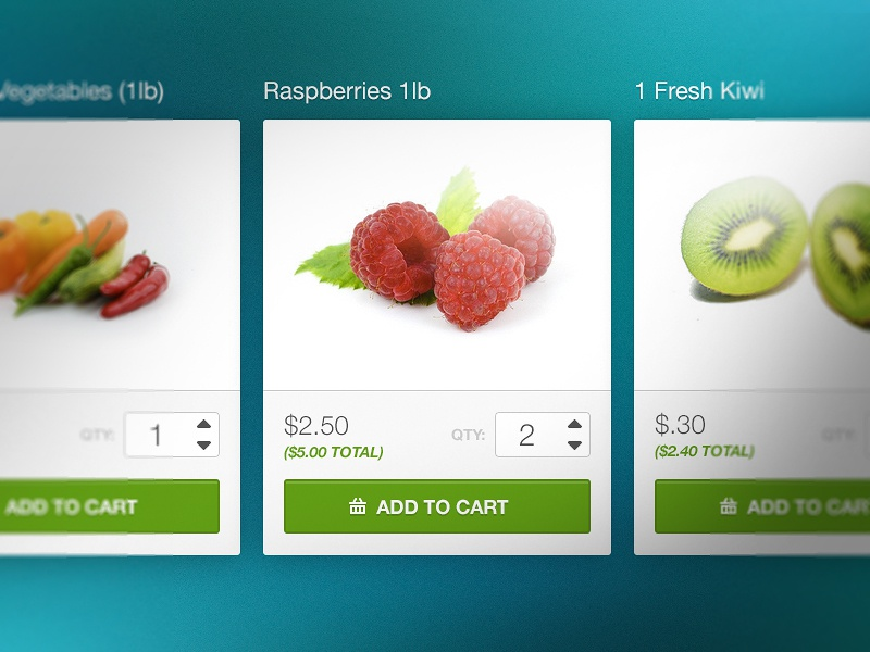 Free PSD - Cart  free freebie cart shopping fruit kiwi add total checkout quantity