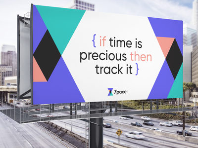 7pace billboard ux web ui design website branding logo unique logo developers code 7pace unfold tracking time billboard mockup billboard