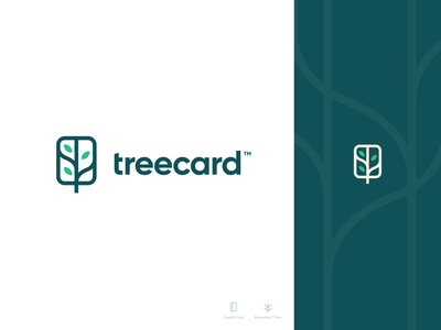 Treecard Logo design money unfold wooden cards debit card bank organic leaves logo tree logo band branding card tree treecard