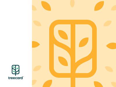 Treecard Graphic illustration unfold logo branding design finance bank green card tree leaves icon treecard
