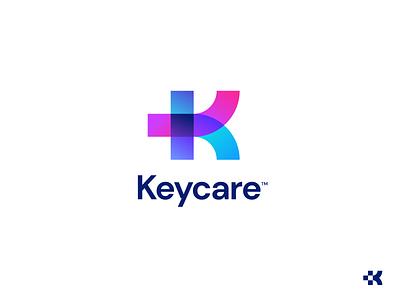 Keycare Logo agnecy unfold colorful overlap letter k med medicine media cross medical branding logo