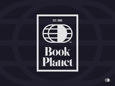 BookPlanet Logo typography brand branding logos retro vintage earth planet earth planet world globe bookshop books logo unfold band and land