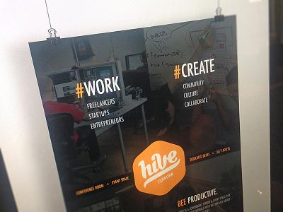 Hive Poster cowork hive poster flyer work create teach print design cowork hive hexagon logo