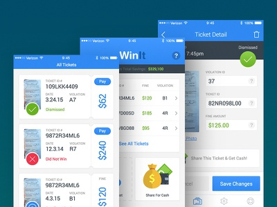 Winit Dashboard win dismissed citation court pay cash iphone app ios ticket parking