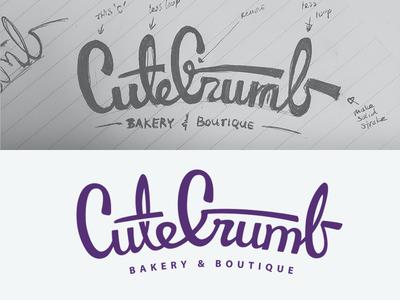 CuteCrumb Logo purple typography type sketch lettering script boutique bakery branding logo xprocrastinationcontest