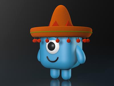 Señor Bob 3D cube eye icon cute sombrero roark rocky c4d 3d bob