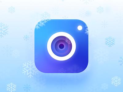 Wintery Camera holidays christmas glow branding ios icon lens cold snowflakes snow camera winter