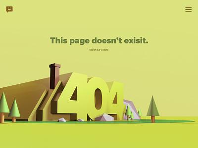 404 Page illustration desert rocks house 3d trees design website error page 404 c4d