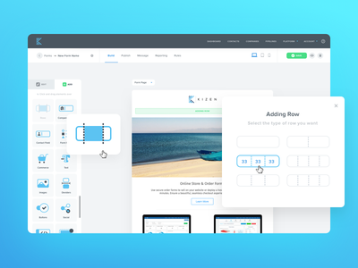 Kizen Builder drag and drop icons row unfold button fields preview ux ui forms builder
