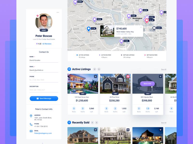 EN Profile map layout card unfold ux ui webapp app houses listings estate real