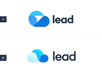 Lead.com Logo brand branding arrow blue crm email cloud logo lead
